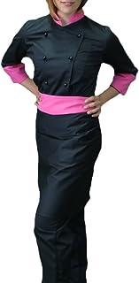 Completo GIACCA e CAPPELLO Cuoco Donna Cuoca NERA Profili Bianchi Super Leggera