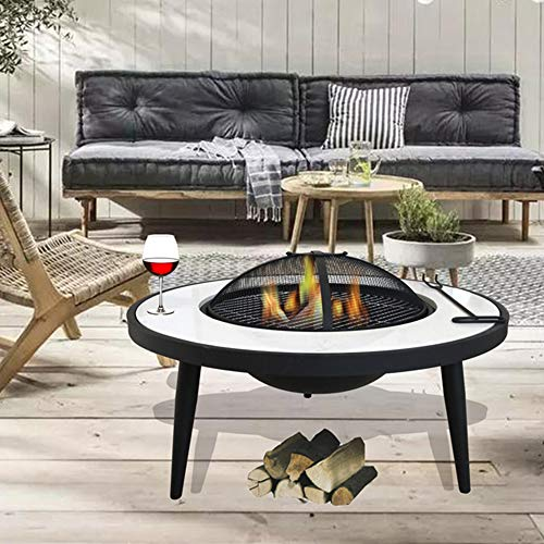 FMXYMC Cast Stone Bonfire, Party Fire Pit for Camping, Patio Fireplace with/Deep Fire Bowl/Net Cover/Chrome Grilled Wire Mesh/Black Charcoal Tray