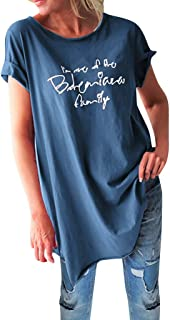 Women T-shirt, OULSEN Plus Size Summer Casual Loose Top Shirt Short Sleeve Round Neck Simple Letter Printing Blouse Tunic ...