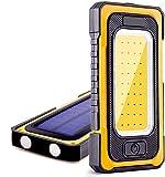 Luz de Trabajo Focos LED Recargable 1500 Lúmen 6000mAh Banco de Energía 3 Modos Impermeable con Base Magnética y Gancho Portátil Solar Luz de Inspección para Camping Emergencia Pesca Cortes Energía