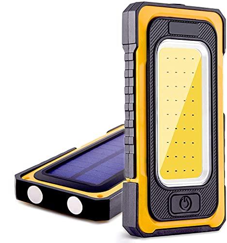 Luz de Trabajo Focos LED Recargable 1500 Lúmen 6000mAh Banco de Energía 3 Modos Impermeable con Base Magnética y Gancho Portátil Solar Luz de Inspección para Camping Emergencia Pesca Cortes Energía ⭐