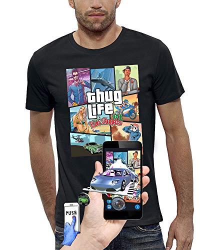 PIXEL EVOLUTION Camiseta 3D Thug Life LOS Angeles en Realidad Aumentada Hombre - tamaño XL - Negro