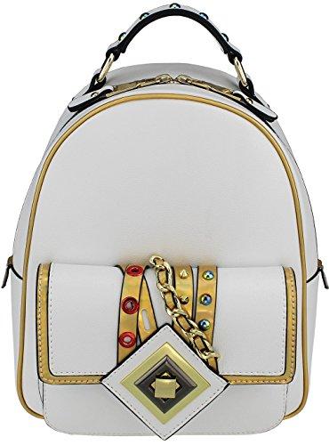 B BRENTANO Veganer Fashion Mini Rucksack mit metallischem Rand, Weiá (weiß), Einheitsgröße