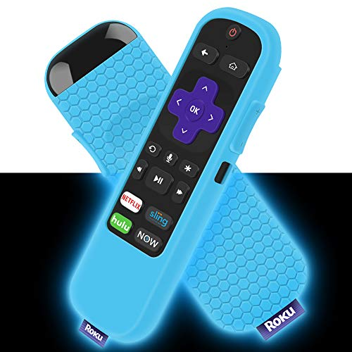 Silicone Case for Roku Express/Streaming Stick Remote Non-Slip Shockproof Protective Cover for Roku Express(3900)/Express+(3910), Streaming Stick(3800)/Stick+(3810) Remote Control (Glow Blue)