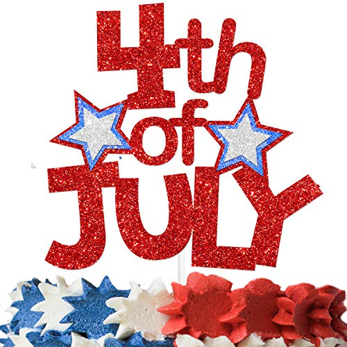 4th of July Cake Topper Red Blue and Silver Glitter Star for Patriotic Theme Independence Day Fourth of July Party Decorations Supplies