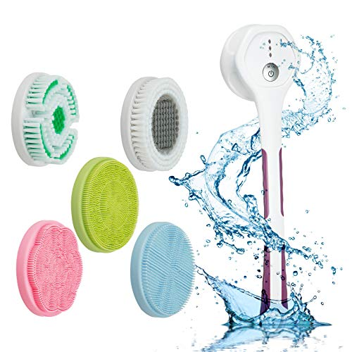 JUJULY rechargeable electric silicon spin rotating back bath brush body scrubber with long handle for use in shower skin cleansing,face cleaner massage brush electric