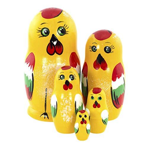 Azhna 5 Stücke 10,5 cm Tier Familie Souvenir Matryoshka Wohnkultur Sammlung Nesting Puppe Handgemalte russische Puppe Holz Stapeln Puppe (Huhn)