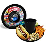 GREATPLATE Plastic Plate with Drink Holder Set of Six Food Tray and Beverage Holder for Parties Reusable Heavy Duty and BPA Free Plastic 10 Inch 6 Pack Black
