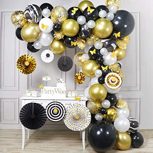 PartyWoo Gold and Black Balloon Garland Kit, 135 pcs of 8 Paper Fans, 5 Gold Leaves, 10 Gold Butterflies, 2 Jumbo Black Balloons, 5 Marble Balloons, Black White Gold Balloons for Black and Gold Party