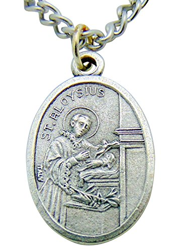 Westman Works Saint Aloysius Patron Saint Medal 3/4 Inch Long with Stainless Steel Chain