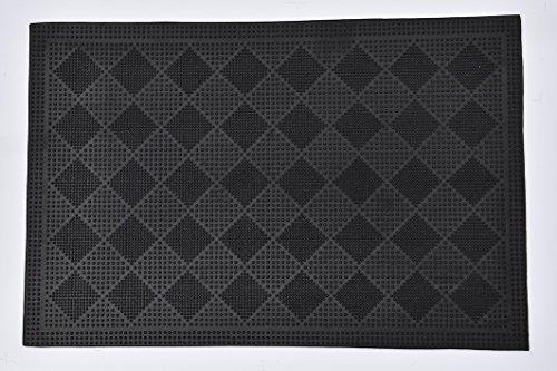 Evideco extérieur Avant Paillasson Drew Checkerboard en Caoutchouc Tapis Noir 61 x 40,6 cm