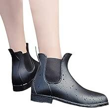 Rain Boots,Wellington Women'S Fashion Rain Boots Pvc Ankle Waterproof Flat Heel Leather Keep Warm Martin Boots Wellies
