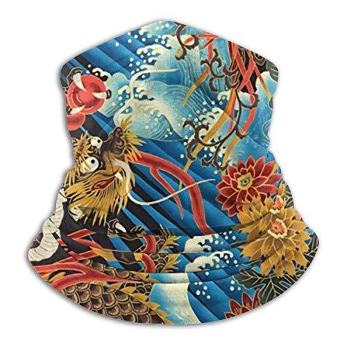 Estilo chino oriental dragón fénix mar ola cuello calentador esquí cuello polaina cubierta cara bufanda capucha invierno sombreros para hombres mujeres niños niñas