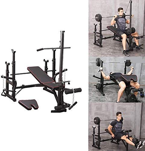 Cnley Banco de pesas plegable para el hogar, banco de pesas ajustable con desarrollador de piernas, estación de entrenamiento multifuncional para levantamiento de pesas y entrenamiento de fuerza