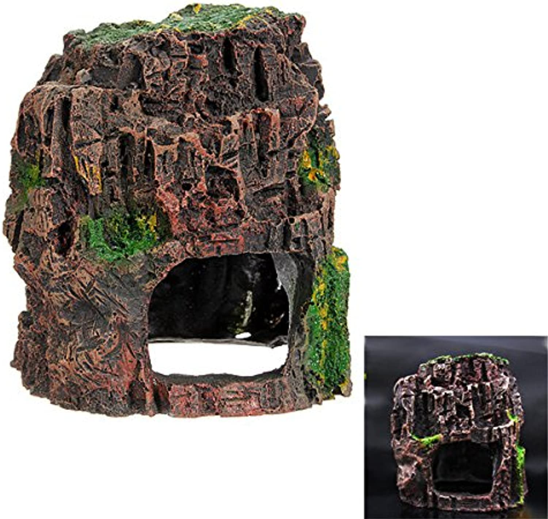 Hiquty Vivarium Hollow Rockery Ornament Hiding Cave Aquarium Decor