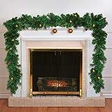 Guirnalda Navidad - 2.7 M Guirnalda Verde Navidad con 30 Luces LED Blanco Cálido - Guirnalda Navidad Chimenea, Escaleras, Pasamano, Interior, Decoración Exterior y Fiestas - Guirnalda Luces LED