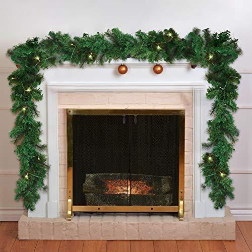 Girlande Weihnachten 270cm - Tannengirlande Beleuchtet Grün mit 30 LED Lichter Warmweiß – Weihnachtsgirlande Treppengirlande Weihnachtsdeko für Kamin, Treppe, Geländer, Außen, Innen, Party Dekoration