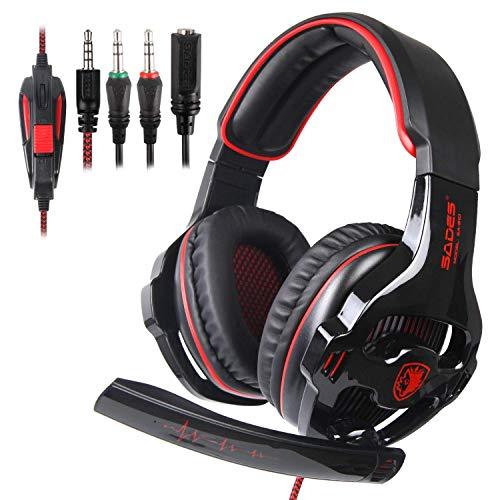 SADES SA810 Xbox One, PS4 Cuffia Gaming 3,5 mm cablato over-ear rumore isolante microfono volume CONTROLFOR per PC/Mac/PS4/nuovo Xbox One/smartphone/tabella