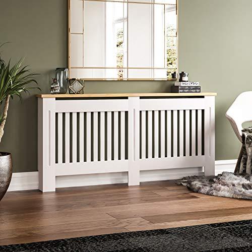 Vida Designs Arlington Radiator Cover White Modern Painted MDF Cabinet, Slats, Grill, Wood Top Shelf, Extra Large