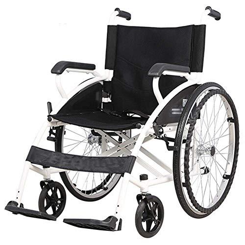 JLKDF Leggero Pieghevole e Manuale per disabili e Anziani - Semovente Pieghevole in Alluminio Leggero con Freno a Mano e Ruote Posteriori a sgancio rapido - Cintura di Sicurezza