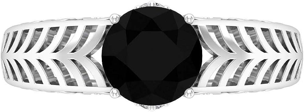 Solitaire Ring, 1.75 CT Lab Created Black Diamond Ring, Filigree Ring Gold (7 MM Round Shape Lab Created Black Diamond), 14K White Gold, Size:US 7.0