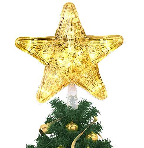 Árbol de Navidad Topper Star con Luces, Decoraciones de Star Tree Topper Luz LED Glitter iluminado Christmas Tree Topper Luz de árbol con Batería para Decoración de Interiores