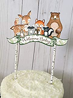 Woodland Baby Shower Cake Topper, Woodland Welcome Baby Topper, Woodland Animals, Baby Shower Decoration