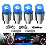 YUERR 4 Pack LED Bike Wheel Lights Car Tire Valve Stems Caps Bicycle Motorcycle Waterproof Tyre Spoke Flash Lights Cool Reflector Accessories for Kids Men Women with 10 Extra Batteries(Blue)