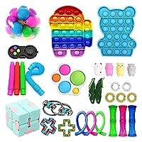 フィジットのおもちゃセット、30のパック感覚玩具パックの安い子供の大人、ストレスの軽減、そしてシンプルなディンプルプッシュポップの泡玩具が付いている抗不安のフィイドボックス (Color : A)