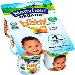Stonyfield Organic, YoBaby Peach and Pear Whole Milk Yogurt, 4 oz, 6 Count