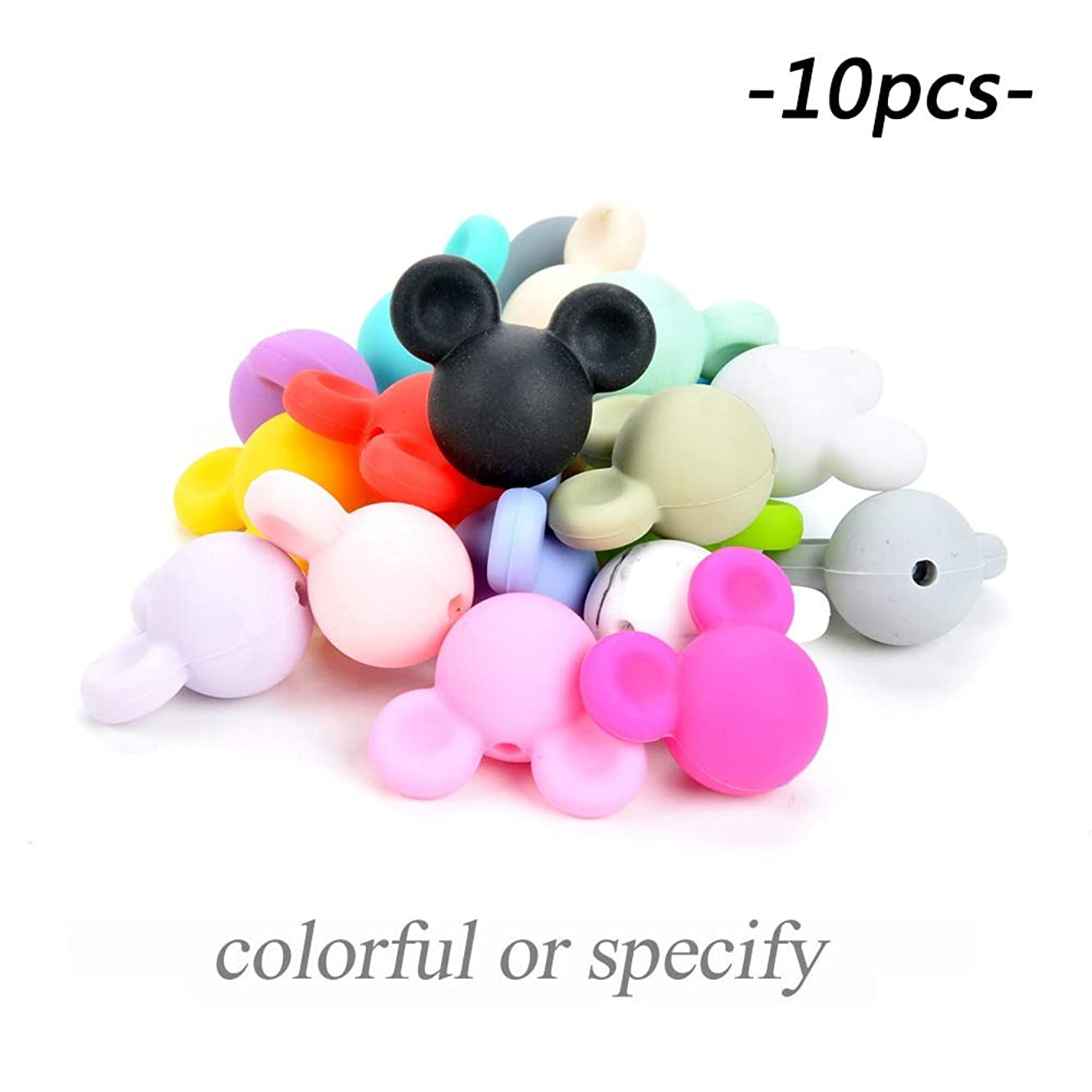 Aquaman Store 10 Pieces - Wholesale 10pcs/lot Mickey Baby Teething Beads Cartoon Silicone Beads for Necklaces BPA Free Teether Toy Accessories Nursing DIY 1 PCs