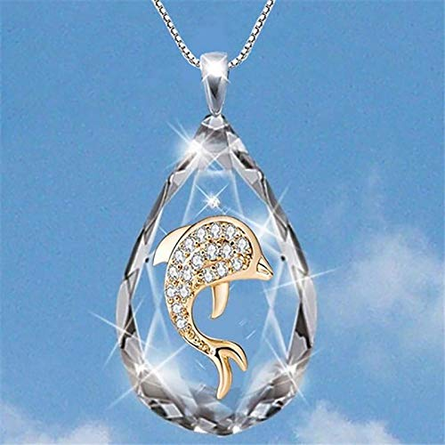 LWWOG Jewellery for Women Six Dolphins Tree Of Life Religious Cross Lady Drop-shaped Crystal Necklace for Anniversary/Birthday Gifts for Her/Wife