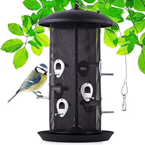 Riesiger XXL Vogelfutterspender mit stabilen Sitzstangen und Schutzdach für Wildvögel – witterungsbeständig und langlebig – Dank des Stahlseils schnell aufgehängt - Vogelhaus zum aufhängen