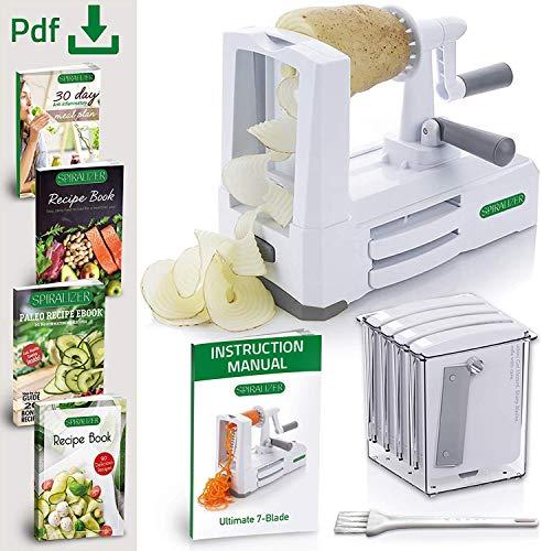 Product Image 3: Spiralizer 7-Blade Vegetable Slicer, Strongest-and-Heaviest Spiral Slicer, Best Veggie Pasta Spaghetti Maker for Keto/Paleo/Non-Gluten, Comes with 4 Recipe Ebooks