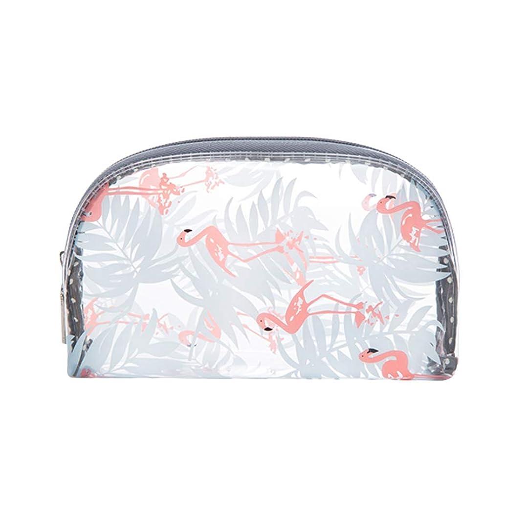 フィッティング伝記舌1ピースフラミンゴパターン化粧収納袋旅行トイレタリーオーガナイザー防水pvc化粧品収納袋(半円サイズS)