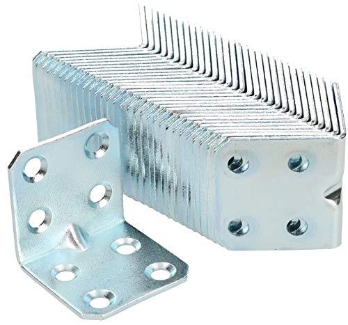 KOTARBAU Winkelverbinder 30 x 30 x 30 x 1,5 mm mit Sicke Stahl Bauwinkel Montagelöcher Möbelverbinder Verzinkt Schwerlast Holzverbinder Montagewinkel (50)