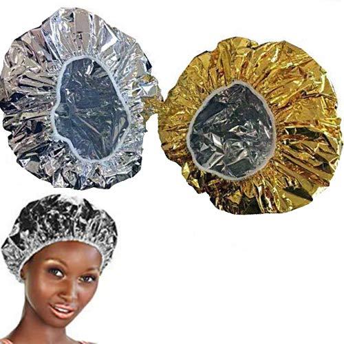 O³ Bonnet Chauffant Pour Soins Capillaires-2 Bonnet Auto Chauffant Cheveux pour Masque-Charlotte auto chauffante : 1 Gold & 1 Silver
