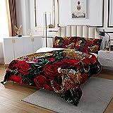 Mädchen Leopard Bettüberwurf Rote Rose Gepard Dekor Tagesdecke 170x210cm für Kinder Jungen Frauen Tropisch Blatt Botanisch Steppdecke Luxus Wildtier Wohndecke mit 1 Kissenbezug 2St