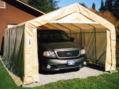 Rhino Portable Carports |Instant Garages | Vehicle Shelters (Tan, House 10Wx20Lx8H)