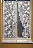 HomeMaison Bonne-Femme Paire de Rideaux à Dentelle, Polyester, Blanc, 160x60 cm