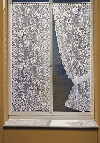 Homemaison bonne-Femme–Coppia di Tende a Pizzo, Poliestere, Bianco, 160x 60cm