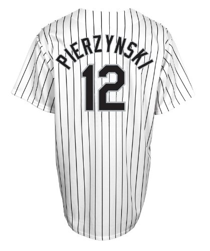 Majestic Athletic MLB Men's Chicago White Sox A.J. Pierzynski White/Black Pinstripe Home Short Sleeve 6 Button Synthetic Replica Baseball Jersey Big & Tall (White/Black Pinstripe, XXXX-Large)
