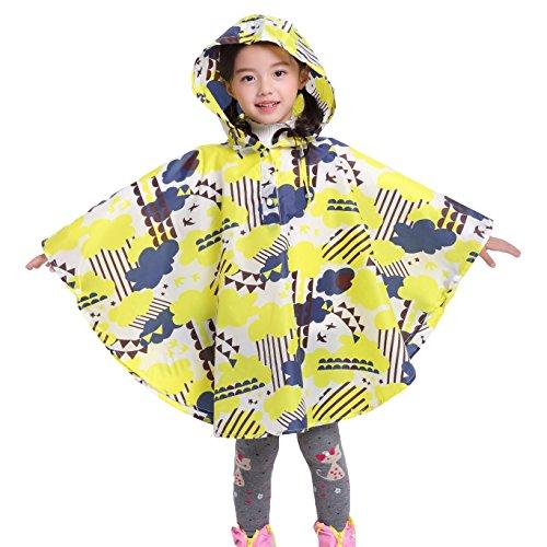 Gagacity Riutilizzabile Poncho Impermeabile Bambini Incappucciati Pioggia Giacca Leggero Bambino per Unisex Clound Giallo/S