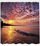 ABAKUHAUS Landschaft Duschvorhang, Dämmerung am Strand Meer, Set inkl.12 Haken aus Stoff Wasserdicht Bakterie & Schimmel Abweichent, 175 x 200 cm, Orange Mauve Blue