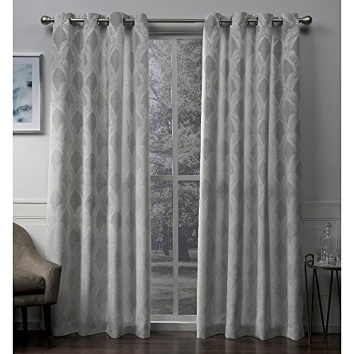 Exclusive Home Curtains Dorado Geometric Textured Linen Jacquard Window Curtain Panel Pair with Grommet Top, 54x96, Ash Grey, 2 Piece
