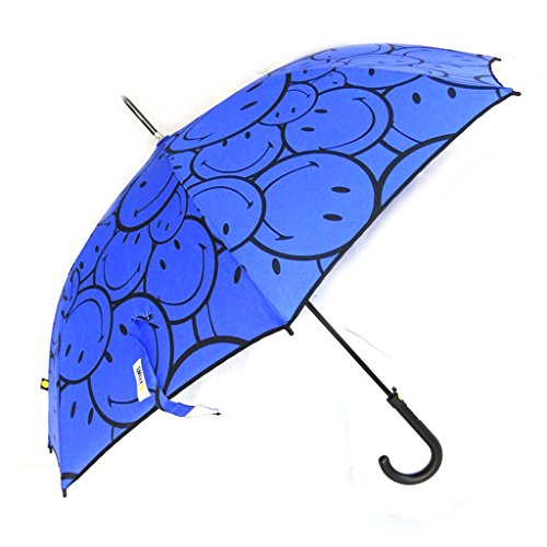 Smiley [M9815] - Regenschirm stock 'Smiley' blau.