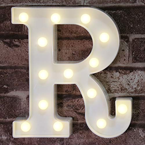 Pooqla LED Marquee Letter Lights Alphabet Light Up Sign R (8.66inch) for Wedding Party Home Decoration R