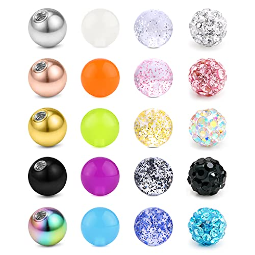 Briana Williams Jeu de Boules de Piercing 1.2mm Filetage Remplacement Balle de Rechange Boule de Vis 3mm Acier Chirurgical Acrylique Plastique