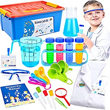 Kids Science Experiment Kit with Lab Coat Scientist Costume Dress Up Role Play Toys for Boys Girls Kids Age 3-11 Birthday Christmas Party Gifts