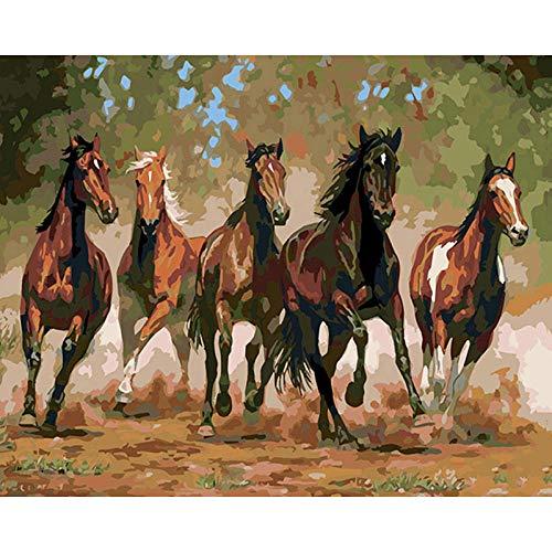 LULCLY DIY Ölgemälde Paint by Number Kit Pferd Im Galopp Kinder Erwachsene Anfänger Zeichnen Mit Pinsel Weihnachtsdekor Geschenke 40X50Cm